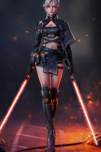 Cyberpunk Girl With Two Lightsaber