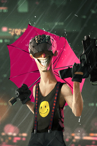 540x960 Cyberpunk Man Smile Gun