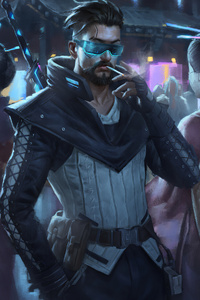 480x800 Cyberpunk Man Smoking Cigratte