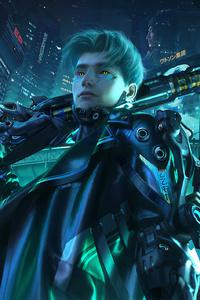 Cyberpunk Man With Gun
