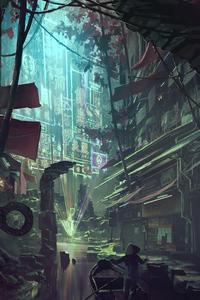 Cyberpunk Market Set In Ancient Ruins 4k