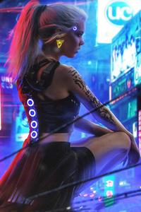 Cyberpunk Neon Girl 4k