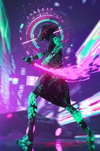 480x800 Cyberpunk Neon With Sword 4k