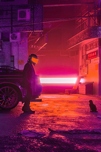 480x800 Cyberpunk Of Cats And Men