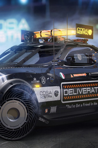 1080x2280 Cyberpunk Pizza Delivery Car 4k