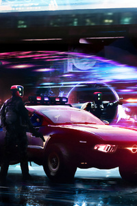 Cyberpunk Police Cars 4k