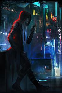 480x854 Cyberpunk Rain Town Man Standing