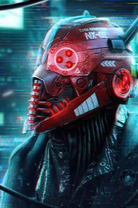 Cyberpunk Robo Mask 4k
