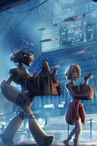 Cyberpunk Robot City 4k