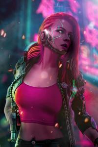 1125x2436 Cyberpunk Scifi Girl 4k