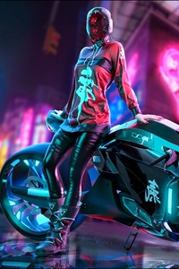 Cyberpunk Scifi Girl With Motorcycle