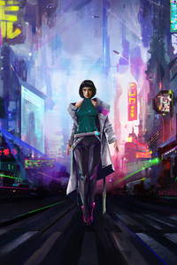 1440x2960 Cyberpunk Short Hair Girl 4k