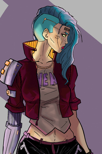 1440x2960 Cyberpunk Sketch Girl 4k