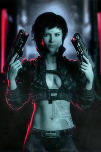 Cyberpunk Smoked Girl With Guns