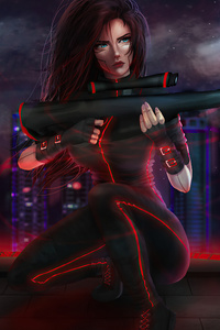 320x568 Cyberpunk Sniper Girl 4k