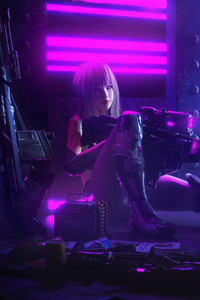 Cyberpunk Sniper Girl