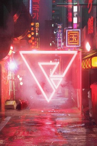 750x1334 Cyberpunk Street Neon Abstract Triangle Art 5k