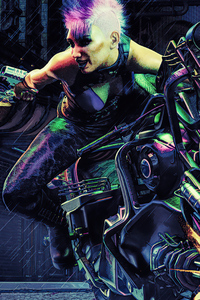Cyberpunk Street Racer Girl