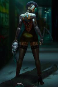 1080x2160 Cyberpunk Tatto Girl