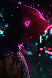 1280x2120 Cyberpunk Warrior In Rain 5k