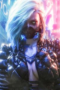 1080x2280 Cyberpunk White Hair Girl