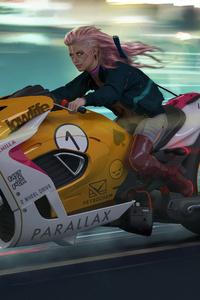 1280x2120 Cyberpunk Zonda Parallax Bike 4k