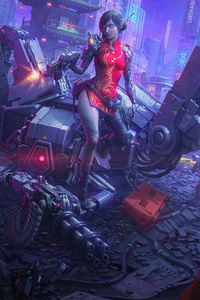 1125x2436 Cyborg Girl Killing Attacker 8k