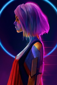 1440x2960 Cyborg Girl Pink Hair Short Hair 4k