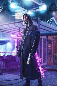 800x1280 Cyborg Girl Rainy Night