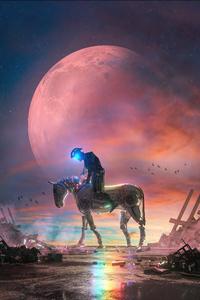 2160x3840 Cyborg Horse Rider 5k