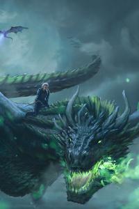 540x960 Daenerys Targaryen Dragon Digital Art 4k