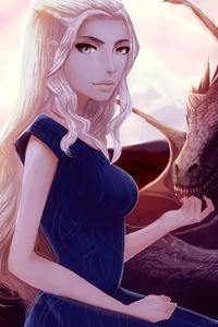 480x800 Daenerys Targaryen Petting His Dragon