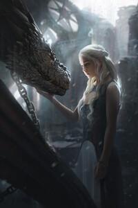 Daenerys Targaryen With Dragon Artwork