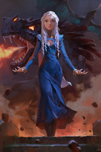 480x800 Daenerys Targaryen With Dragon