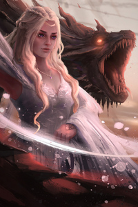480x800 Daenerys Targayen With Dragons Artwork 4k
