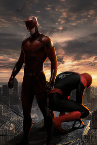 1440x2560 Daredevil And Spiderman 4k