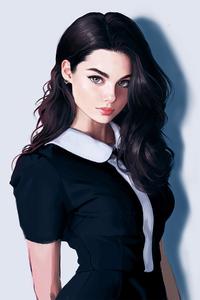Dark Blacked Hair Girl Looking Art 4k