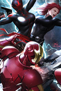 1125x2436 Dark Captain Marvel Vs Iron Man And Black Widow