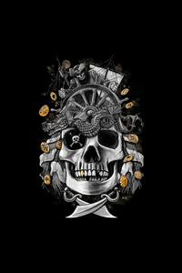 1080x2280 Dark Gold Skull 4k
