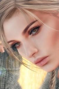 Dark Hair Blonde Girl Art