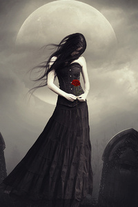Dark Princess With Rose