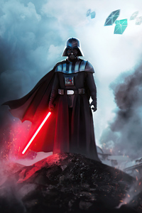 Darth Vader With Red Sword 4k