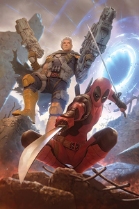 640x1136 Deadpool And Cable 2020 Art