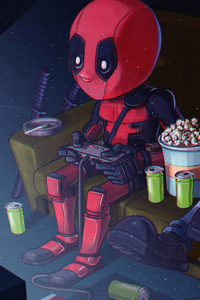320x480 Deadpool And His Friend Playing Video Games
