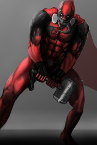 Deadpool As Venom With Thor Helmet