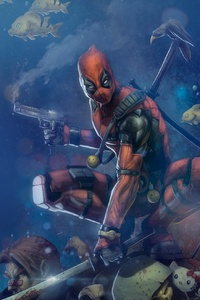 240x400 Deadpool Digital Color Art