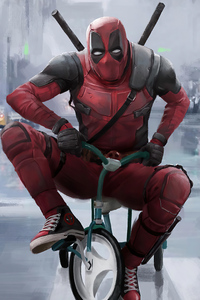 1080x2280 Deadpool Driving Kid Cycle