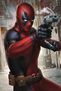 750x1334 Deadpool Gun Artwork 4k
