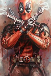 1280x2120 Deadpool Guns Up