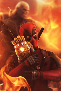 1280x2120 Deadpool Loving Infinity Gauntlet